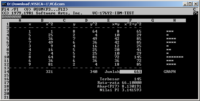 VisiCalc on DOS/IBMPC